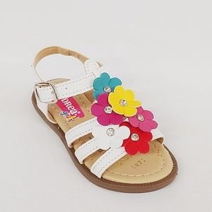 Other - Andrea White Sandals with Multi-Colored Flowers
